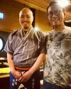 和食バーみぞはた様の店主と記念撮影