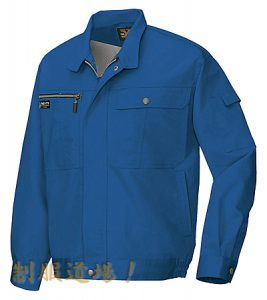 坂間酒造の青い作業服